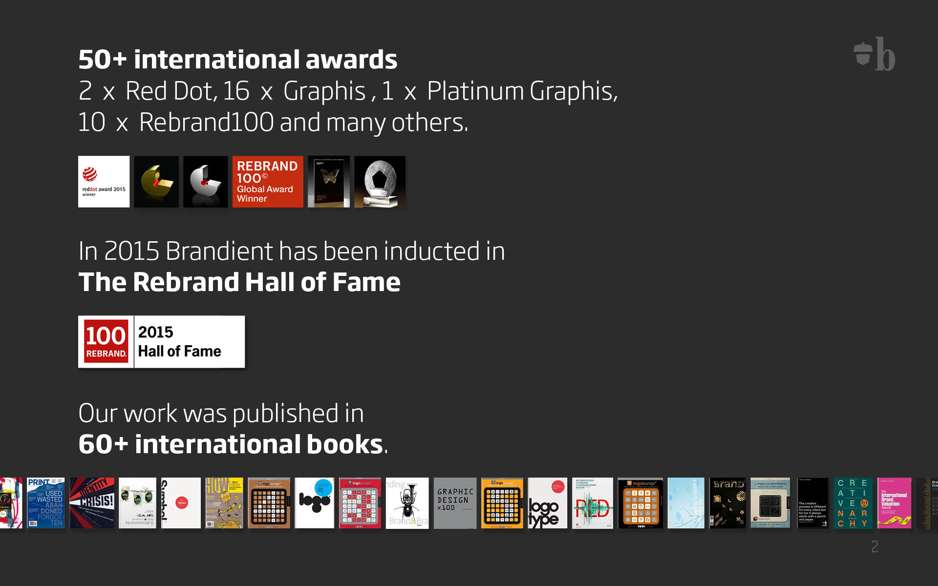 50+ international awards: 2 x Red Dot, 16 x Graphis, 1 x Platinum Graphis, 10 x Rebrand100 and many others. In 2015 Brandient has been inducted in The Rebrand Hall of Fame. Our work was published in 60+ international books.